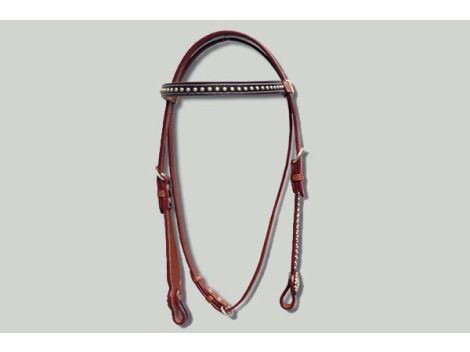 Western leather bridle with silver studs