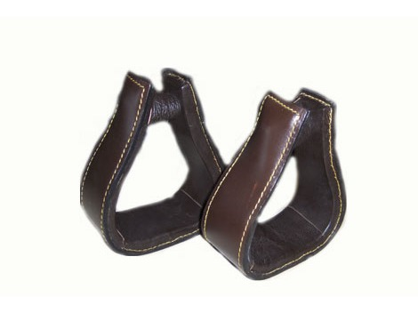 Western leather stirrups