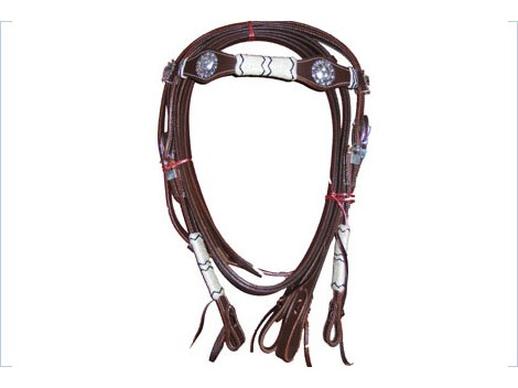 Western leather bridle with white and silver decorations