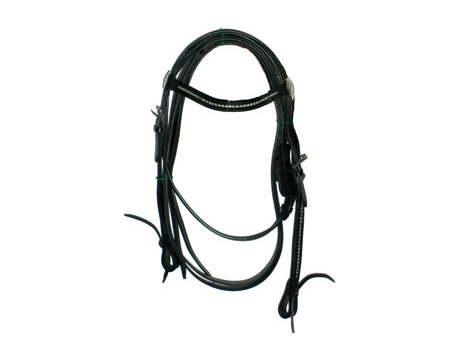 Western Italian leather bridle with strass