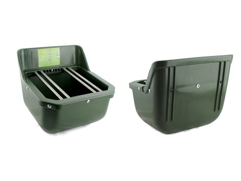 Shatter-proof plastic foal feeder with drain plug