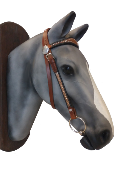 Western leather bridle with goat skin
